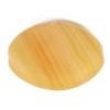 Glass Pressed Beads 16x12mm Flat Oval Mustard Matt